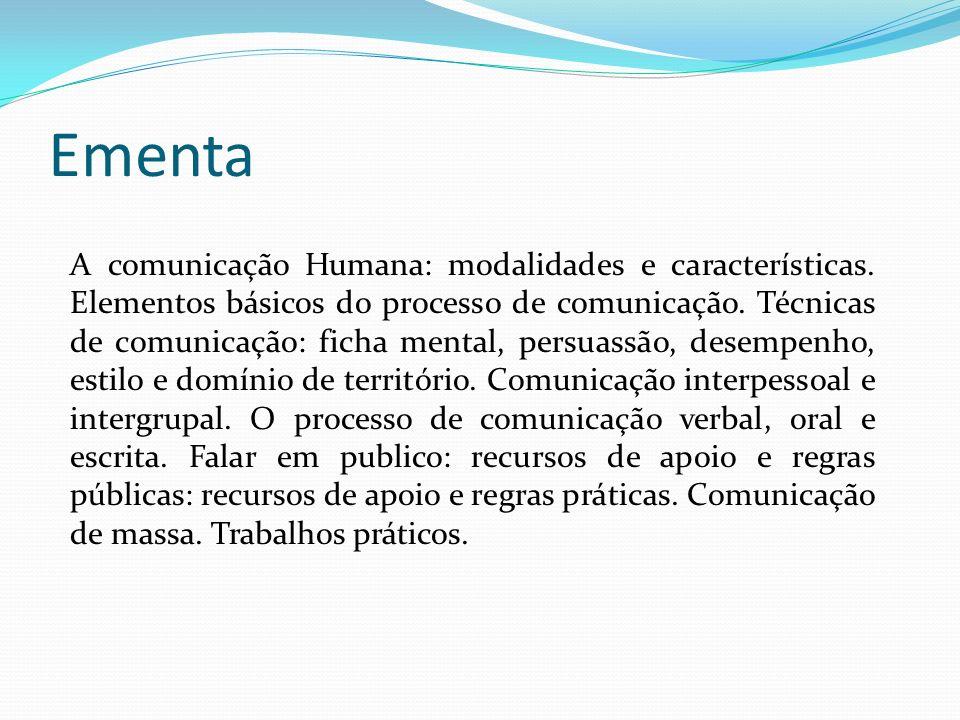 Ementa A comunicação Humana: modalidades e características.