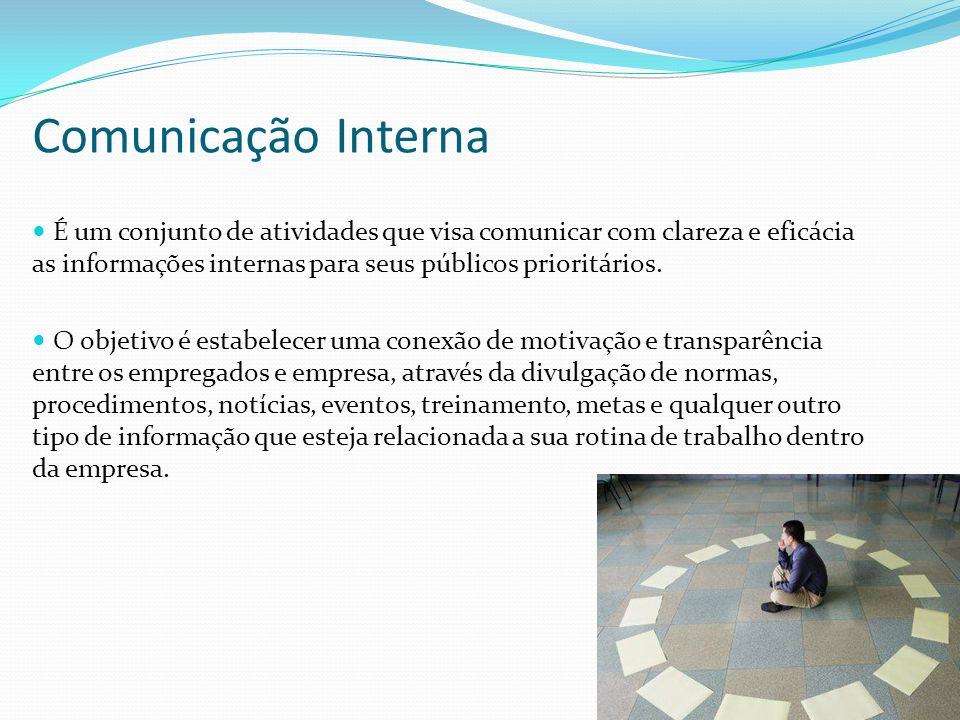 14 É um conjunto de atividades que visa comunicar com clareza e eficácia as informações internas para seus públicos prioritários. O objetivo é estabel