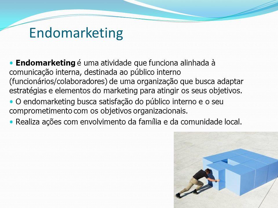 16 Endomarketing é uma atividade que funciona alinhada à comunicação interna, destinada ao público interno (funcionários/colaboradores) de uma organiz