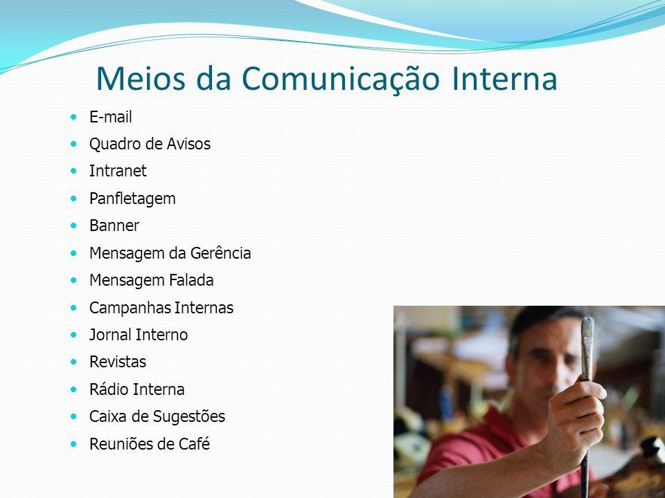 19 E-mail Quadro de Avisos Intranet Panfletagem Banner Mensagem da Gerência Mensagem Falada Campanhas Internas Jornal Interno Revistas Rádio Interna C