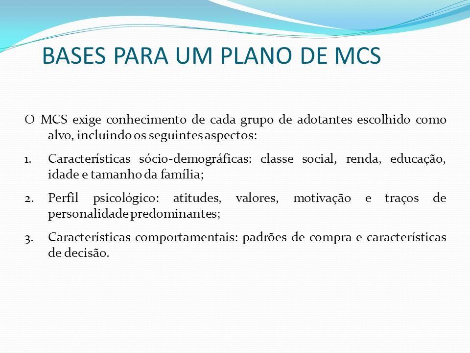 O MCS exige conhecimento de cada grupo de adotantes escolhido como alvo, incluindo os seguintes aspectos: 1.Características sócio-demográficas: classe