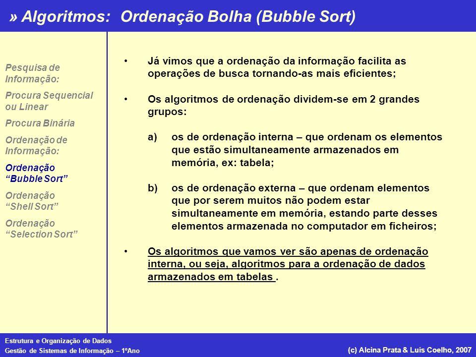 » Algoritmos: Estrutura e Organização de Dados Gestão de Sistemas de Informação – 1ºAno (c) Alcina Prata & Luís Coelho, 2007 Já vimos que a ordenação