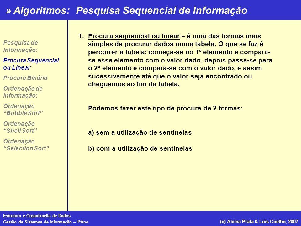 » Algoritmos: Estrutura e Organização de Dados Gestão de Sistemas de Informação – 1ºAno (c) Alcina Prata & Luís Coelho, 2007 Ordenação por Borbulhamento (Bubble Sort) Procedure ordena(.....); Const tamanho=10; var i : integer; nenhumatroca : boolean; numeros:array[1..tamanho]; Procedure troca (var x,y:integer); var temp :integer; begin temp:=x; x:=y; end begin repeat nenhumatroca:=true; for i:=1 to tamanho-1 do if numeros[i]>numeros[i+1] then begin troca(numeros[i],numeros[i+1]); nenhumatroca:=false; end until nenhumatroca:=true End; Procedure ordena(.....); Const tamanho=10; var i : integer; nenhumatroca : boolean; numeros:array[1..tamanho]; Procedure troca (var x,y:integer); var temp :integer; begin temp:=x; x:=y; end begin repeat nenhumatroca:=true; for i:=1 to tamanho-1 do if numeros[i]>numeros[i+1] then begin troca(numeros[i],numeros[i+1]); nenhumatroca:=false; end until nenhumatroca:=true End; Exemplo 2: Pesquisa de Informação: Procura Sequencial ou Linear Procura Binária Ordenação de Informação: Ordenação Bubble Sort Ordenação Shell Sort Ordenação Selection Sort