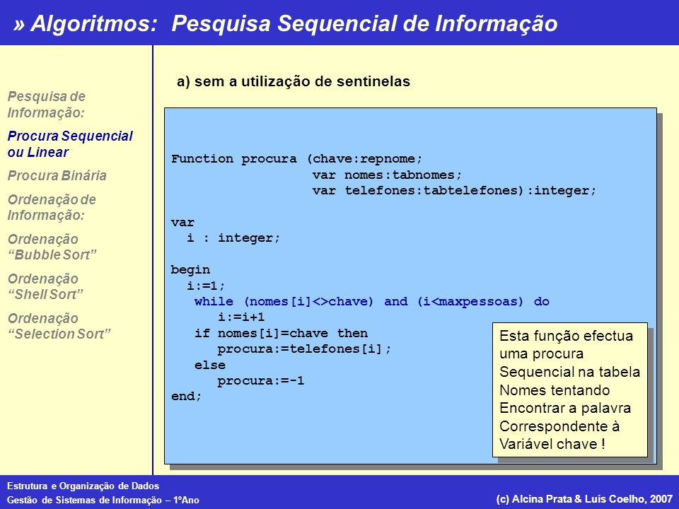 » Algoritmos: Estrutura e Organização de Dados Gestão de Sistemas de Informação – 1ºAno (c) Alcina Prata & Luís Coelho, 2007 Ordenação Shell Sort Procedure ordena(.....); Const tamanho=10; var intervalo, i : integer; nenhumatroca : boolean; numeros:array[1..tamanho]; Procedure troca (var x,y:integer); var temp :integer; begin temp:=x; x:=y; end Begin intervalo:=tamanho div 2; repeat repeat nenhumatroca:=true; for i:=1 to tamanho-intervalo do if numeros[i]>numeros[i+intervalo] then begin troca(numeros[i],numeros[i+intervalo]); nenhumatroca:=false; end until nenhumatroca:=true intervalo := intervalo div 2 until intervalo:=0 End; Procedure ordena(.....); Const tamanho=10; var intervalo, i : integer; nenhumatroca : boolean; numeros:array[1..tamanho]; Procedure troca (var x,y:integer); var temp :integer; begin temp:=x; x:=y; end Begin intervalo:=tamanho div 2; repeat repeat nenhumatroca:=true; for i:=1 to tamanho-intervalo do if numeros[i]>numeros[i+intervalo] then begin troca(numeros[i],numeros[i+intervalo]); nenhumatroca:=false; end until nenhumatroca:=true intervalo := intervalo div 2 until intervalo:=0 End; Pesquisa de Informação: Procura Sequencial ou Linear Procura Binária Ordenação de Informação: Ordenação Bubble Sort Ordenação Shell Sort Ordenação Selection Sort