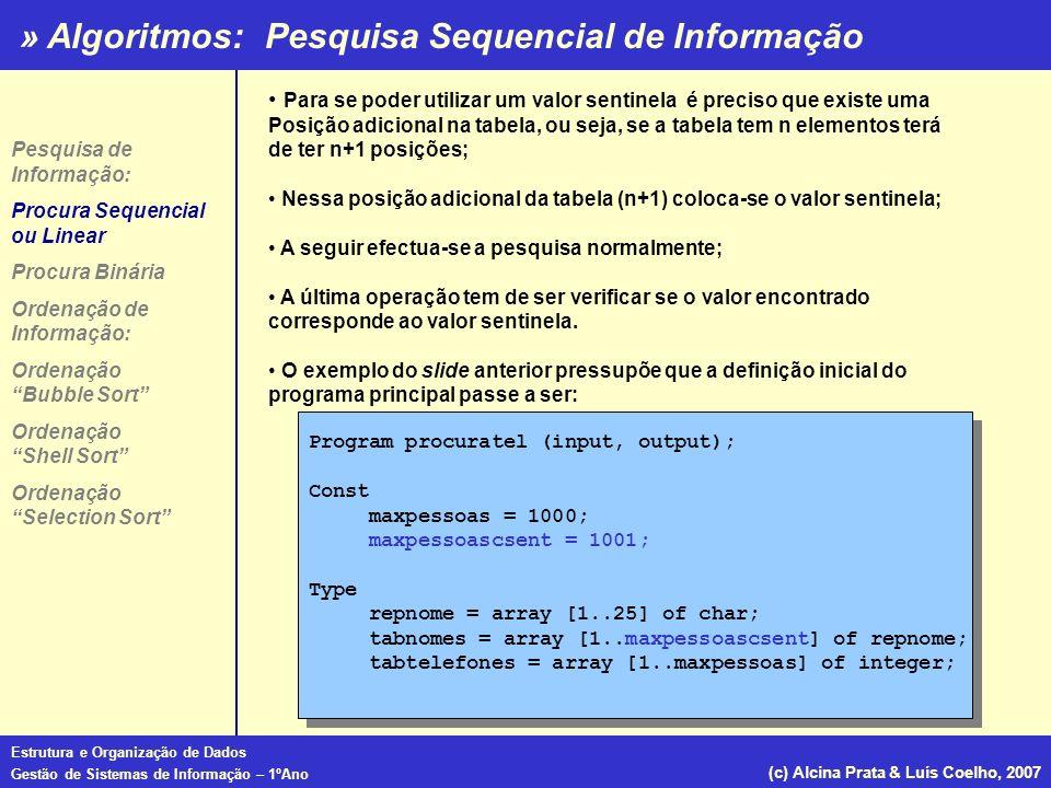 » Algoritmos: Estrutura e Organização de Dados Gestão de Sistemas de Informação – 1ºAno (c) Alcina Prata & Luís Coelho, 2007 Para se poder utilizar um