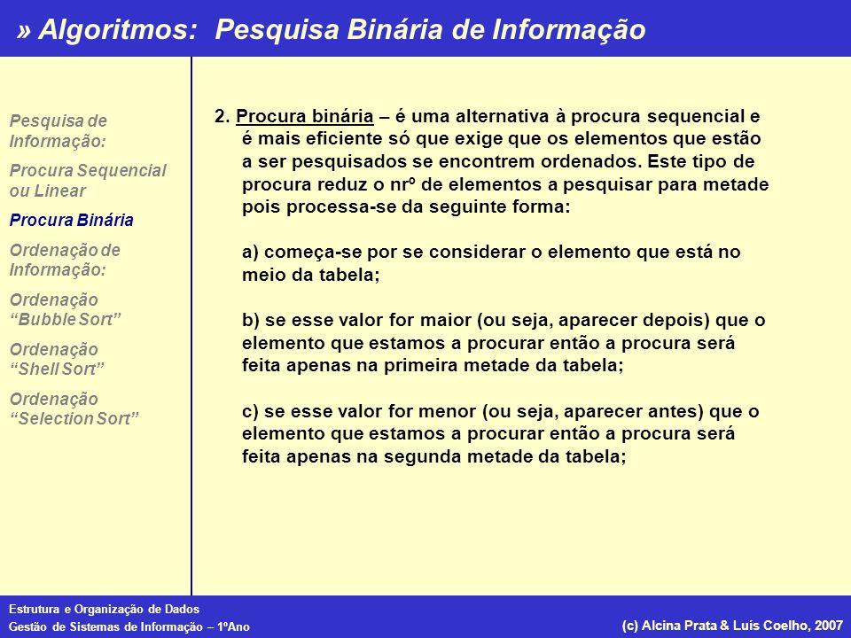 » Algoritmos: Estrutura e Organização de Dados Gestão de Sistemas de Informação – 1ºAno (c) Alcina Prata & Luís Coelho, 2007 Function procura (chave:repnome; var nomes:tabnomes; var telefones:tabtelefones):integer; var LimInf, LimSup, Meio : integer; begin LimInf:=1; LimSup:=Maxpessoas; repeat meio:=(LimInf+LimSup) div 2; if chave<Nomes[Meio]then LimSup:=Meio-1; else LimInf:=Meio+1; until (chave=Nomes[Meio]) or (LimInf>LimSup); if chave=Nomes[Meio] then procura:=telefones[Meio]; else procura:=-1 end; Function procura (chave:repnome; var nomes:tabnomes; var telefones:tabtelefones):integer; var LimInf, LimSup, Meio : integer; begin LimInf:=1; LimSup:=Maxpessoas; repeat meio:=(LimInf+LimSup) div 2; if chave<Nomes[Meio]then LimSup:=Meio-1; else LimInf:=Meio+1; until (chave=Nomes[Meio]) or (LimInf>LimSup); if chave=Nomes[Meio] then procura:=telefones[Meio]; else procura:=-1 end; Pesquisa Binária de Informação Pesquisa de Informação: Procura Sequencial ou Linear Procura Binária Ordenação de Informação: Ordenação Bubble Sort Ordenação Shell Sort Ordenação Selection Sort