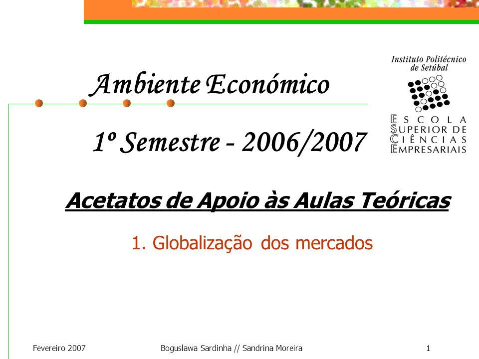 Fevereiro 2007Boguslawa Sardinha // Sandrina Moreira1 Ambiente Económico 1º Semestre - 2006/2007 Acetatos de Apoio às Aulas Teóricas 1. Globalização d