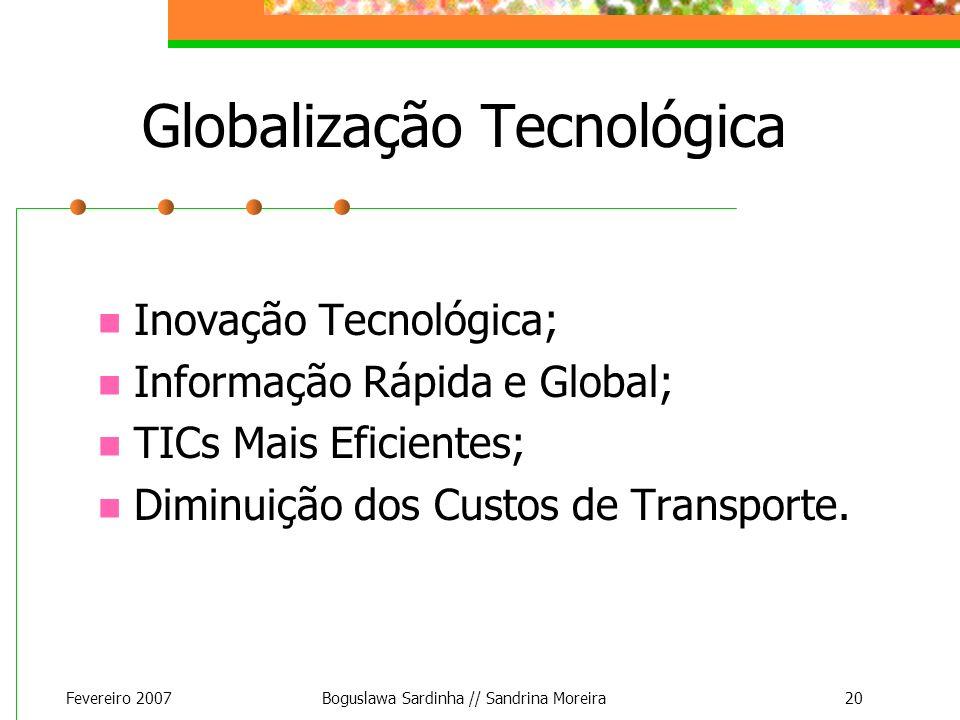 Fevereiro 2007Boguslawa Sardinha // Sandrina Moreira20 Globalização Tecnológica Inovação Tecnológica; Informação Rápida e Global; TICs Mais Eficientes