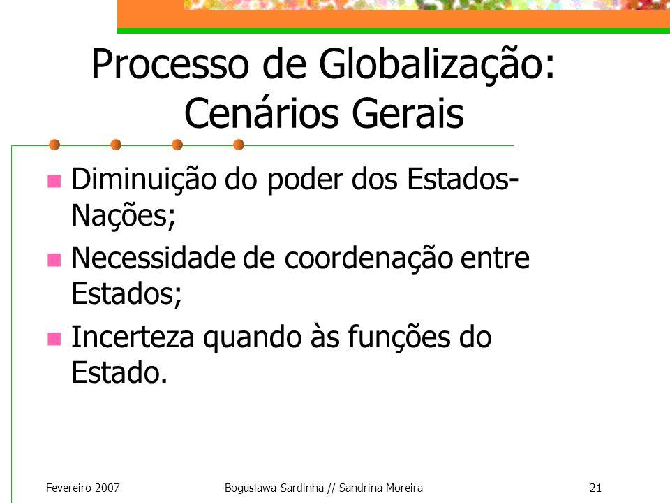 Fevereiro 2007Boguslawa Sardinha // Sandrina Moreira21 Processo de Globalização: Cenários Gerais Diminuição do poder dos Estados- Nações; Necessidade