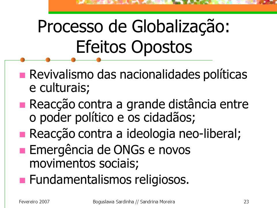 Fevereiro 2007Boguslawa Sardinha // Sandrina Moreira23 Processo de Globalização: Efeitos Opostos Revivalismo das nacionalidades políticas e culturais;