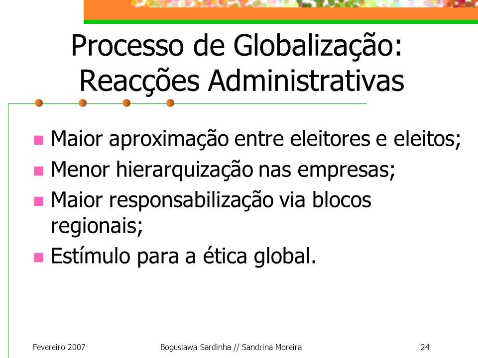 Fevereiro 2007Boguslawa Sardinha // Sandrina Moreira24 Processo de Globalização: Reacções Administrativas Maior aproximação entre eleitores e eleitos;