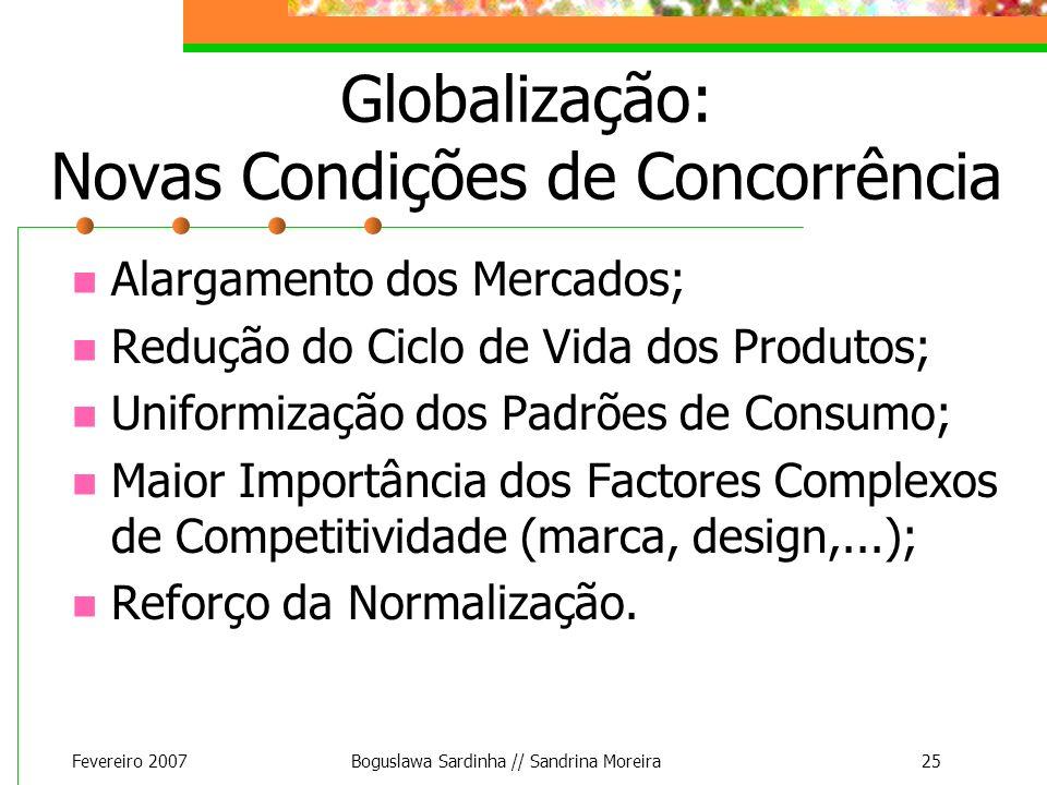 Fevereiro 2007Boguslawa Sardinha // Sandrina Moreira25 Globalização: Novas Condições de Concorrência Alargamento dos Mercados; Redução do Ciclo de Vid