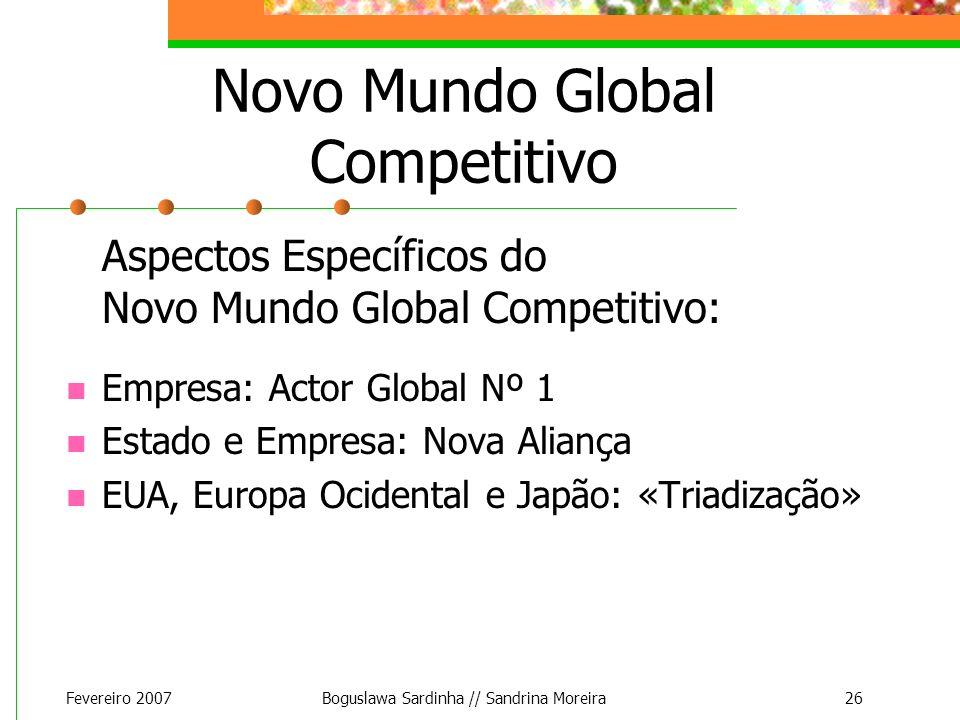 Fevereiro 2007Boguslawa Sardinha // Sandrina Moreira26 Novo Mundo Global Competitivo Aspectos Específicos do Novo Mundo Global Competitivo: Empresa: A