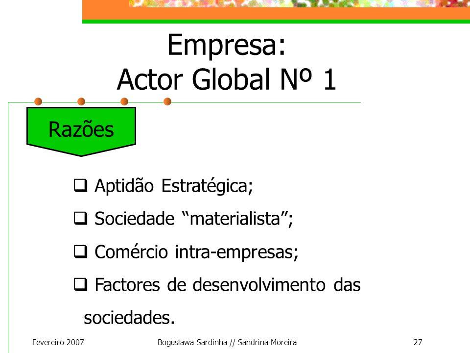 Fevereiro 2007Boguslawa Sardinha // Sandrina Moreira27 Empresa: Actor Global Nº 1 Aptidão Estratégica; Sociedade materialista; Comércio intra-empresas