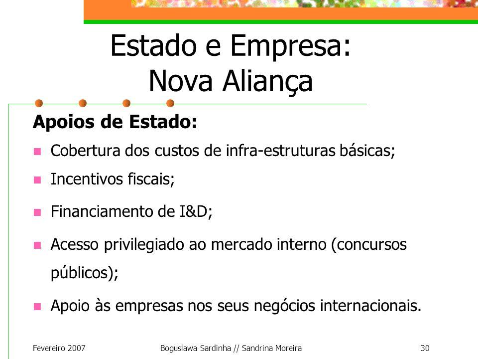 Fevereiro 2007Boguslawa Sardinha // Sandrina Moreira30 Estado e Empresa: Nova Aliança Apoios de Estado: Cobertura dos custos de infra-estruturas básic