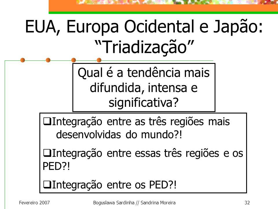 Fevereiro 2007Boguslawa Sardinha // Sandrina Moreira32 EUA, Europa Ocidental e Japão: Triadização Integração entre as três regiões mais desenvolvidas
