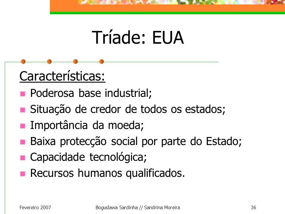 Fevereiro 2007Boguslawa Sardinha // Sandrina Moreira36 Tríade: EUA Características: Poderosa base industrial; Situação de credor de todos os estados;