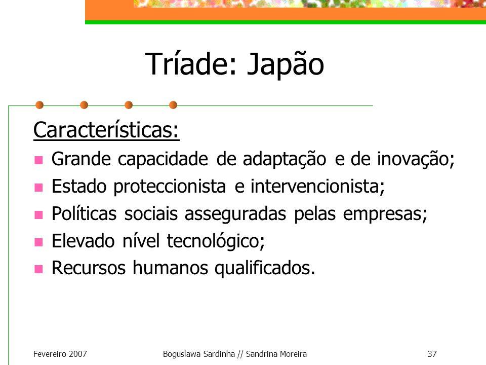 Fevereiro 2007Boguslawa Sardinha // Sandrina Moreira37 Tríade: Japão Características: Grande capacidade de adaptação e de inovação; Estado proteccioni