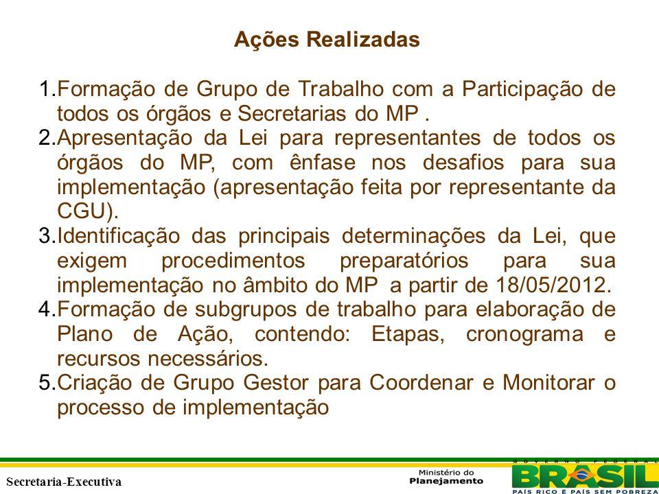 Secretaria Executiva Secretaria-Executiva Ações Realizadas 1.Formação de Grupo de Trabalho com a Participação de todos os órgãos e Secretarias do MP.