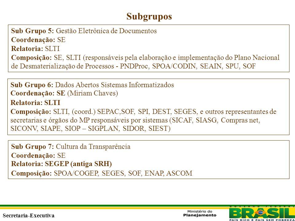 Secretaria Executiva Secretaria-Executiva Subgrupos Sub Grupo 5: Gestão Eletrônica de Documentos Coordenação: SE Relatoria: SLTI Composição: SE, SLTI (responsáveis pela elaboração e implementação do Plano Nacional de Desmaterialização de Processos - PNDProc, SPOA/CODIN, SEAIN, SPU, SOF Sub Grupo 6: Dados Abertos Sistemas Informatizados Coordenação: SE (Miriam Chaves) Relatoria: SLTI Composição: SLTI, (coord.) SEPAC,SOF, SPI, DEST, SEGES, e outros representantes de secretarias e órgãos do MP responsáveis por sistemas (SICAF, SIASG, Compras net, SICONV, SIAPE, SIOP – SIGPLAN, SIDOR, SIEST) Sub Grupo 7: Cultura da Transparência Coordenação: SE Relatoria: SEGEP (antiga SRH) Composição: SPOA/COGEP, SEGES, SOF, ENAP, ASCOM