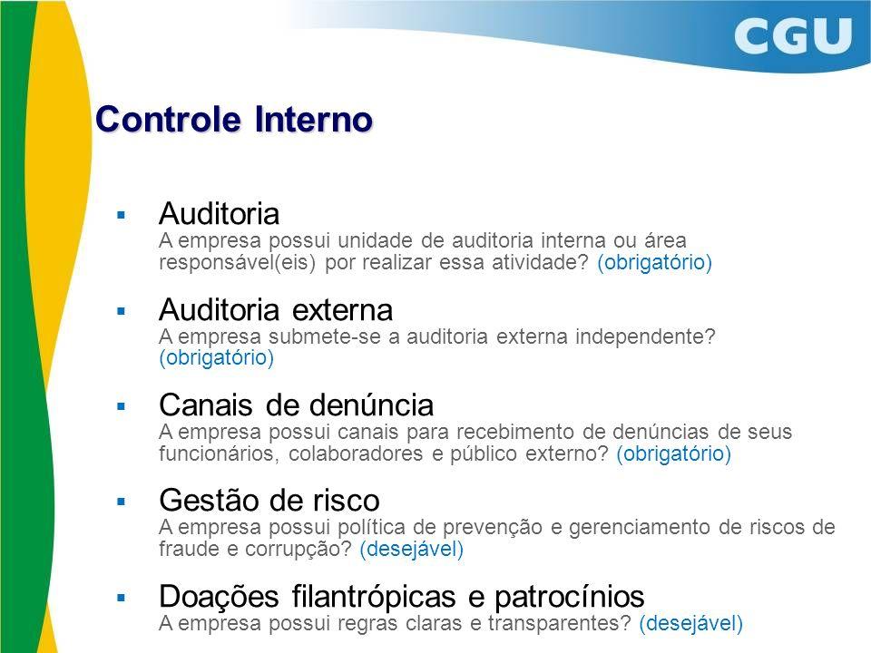 Auditoria A empresa possui unidade de auditoria interna ou área responsável(eis) por realizar essa atividade? (obrigatório) Auditoria externa A empres
