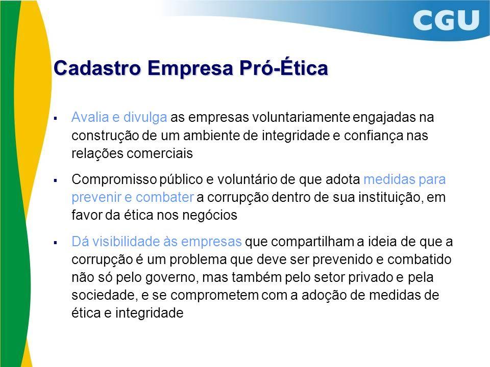 Cadastro Empresa Pró-Ética Avalia e divulga as empresas voluntariamente engajadas na construção de um ambiente de integridade e confiança nas relações