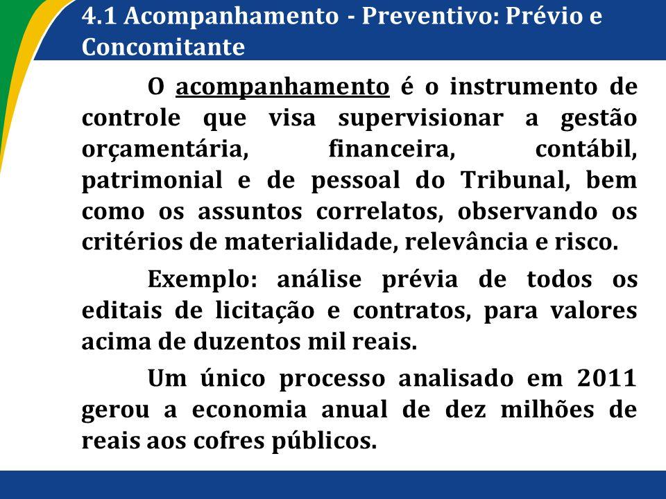 4.1 Acompanhamento - Preventivo: Prévio e Concomitante O acompanhamento é o instrumento de controle que visa supervisionar a gestão orçamentária, fina