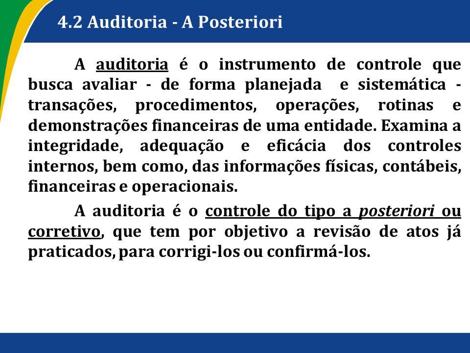 4.2 Auditoria - A Posteriori A auditoria é o instrumento de controle que busca avaliar - de forma planejada e sistemática - transações, procedimentos,