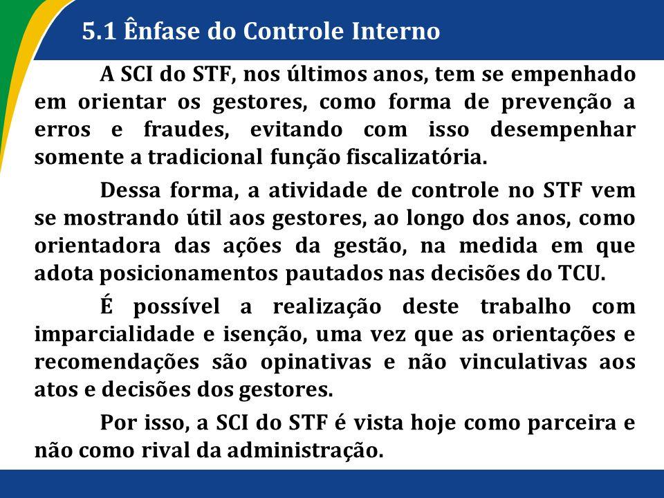 5.1 Ênfase do Controle Interno A SCI do STF, nos últimos anos, tem se empenhado em orientar os gestores, como forma de prevenção a erros e fraudes, ev