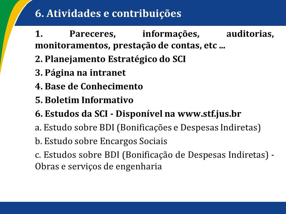 6. Atividades e contribuições 1. Pareceres, informações, auditorias, monitoramentos, prestação de contas, etc... 2. Planejamento Estratégico do SCI 3.