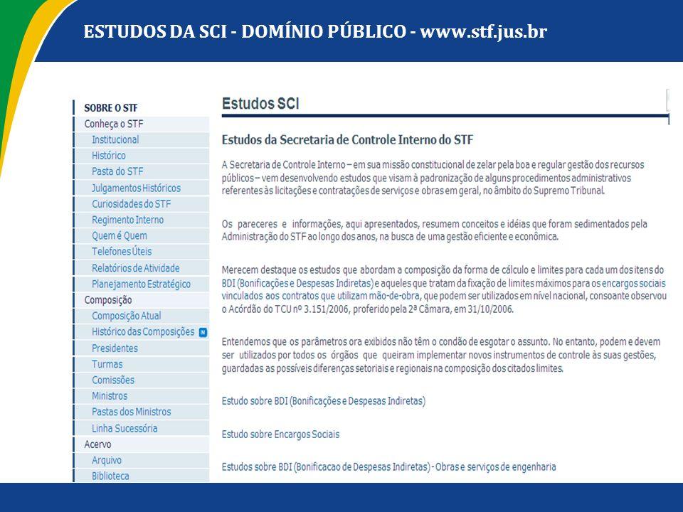 ESTUDOS DA SCI - DOMÍNIO PÚBLICO - www.stf.jus.br