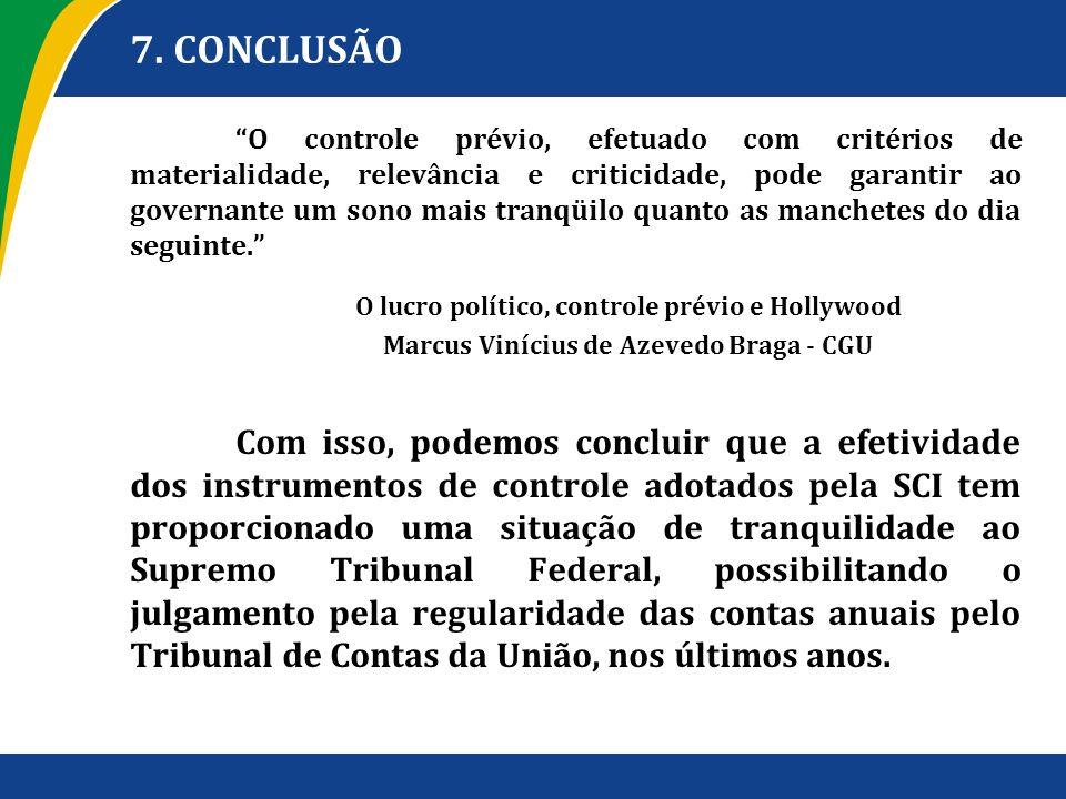 7. CONCLUSÃO O controle prévio, efetuado com critérios de materialidade, relevância e criticidade, pode garantir ao governante um sono mais tranqüilo