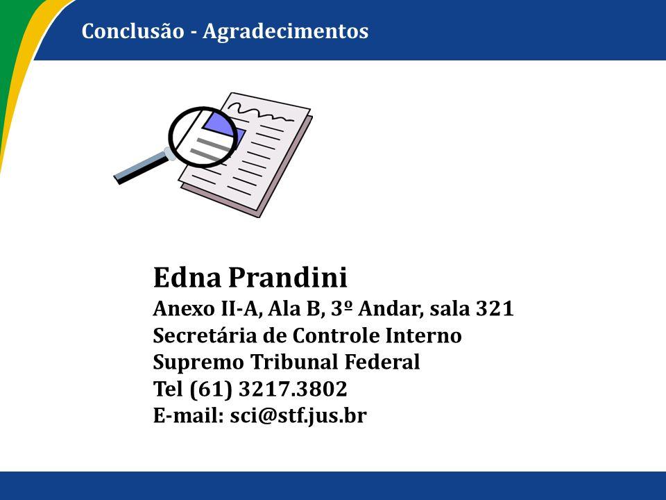Conclusão - Agradecimentos Edna Prandini Anexo II-A, Ala B, 3º Andar, sala 321 Secretária de Controle Interno Supremo Tribunal Federal Tel (61) 3217.3