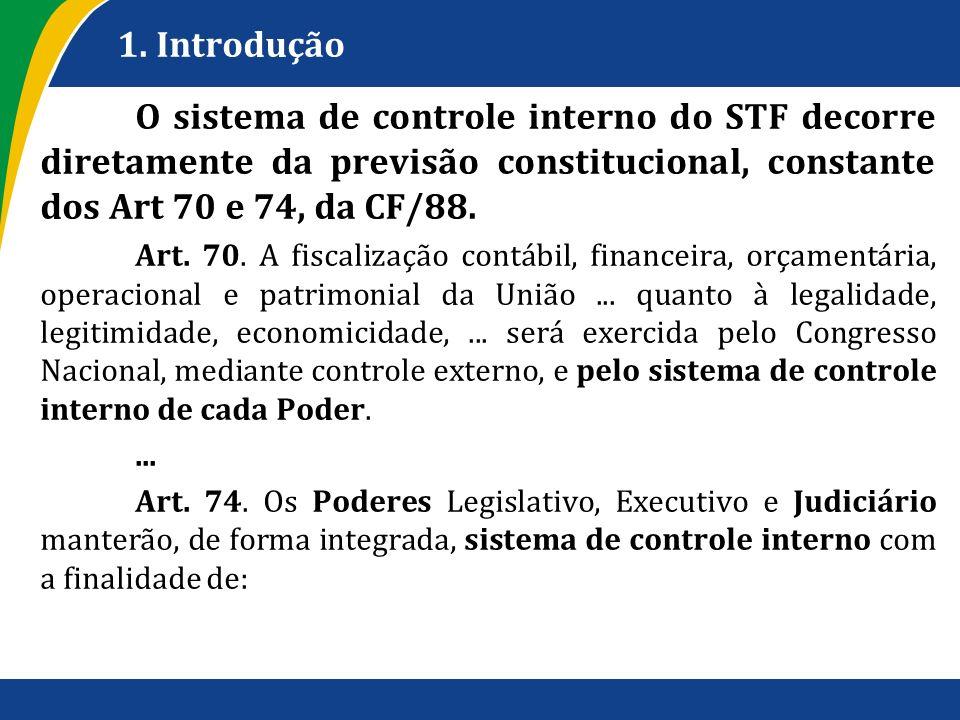 1. Introdução O sistema de controle interno do STF decorre diretamente da previsão constitucional, constante dos Art 70 e 74, da CF/88. Art. 70. A fis