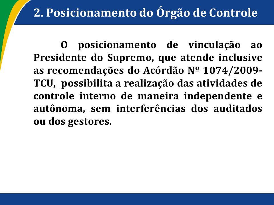2. Posicionamento do Órgão de Controle O posicionamento de vinculação ao Presidente do Supremo, que atende inclusive as recomendações do Acórdão Nº 10