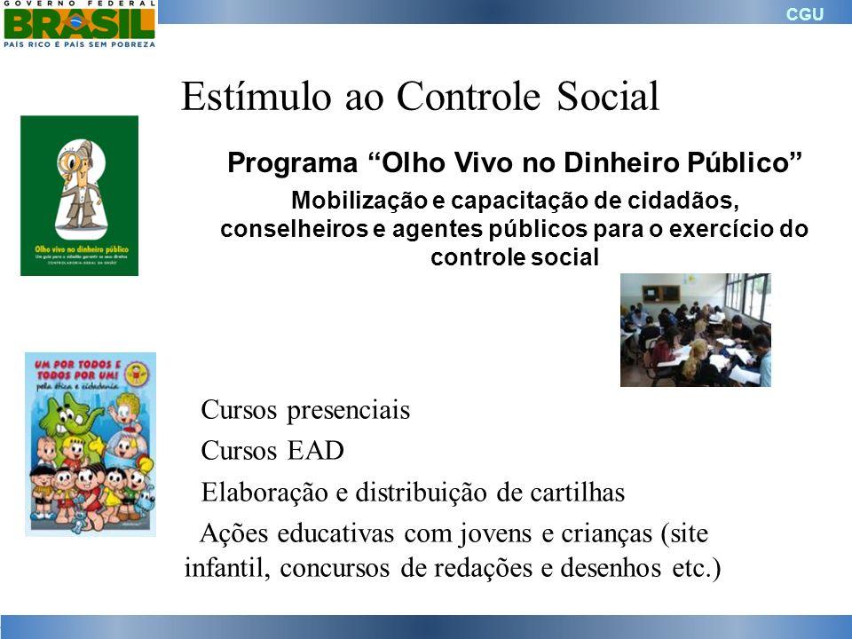 CGU Estímulo ao Controle Social Cursos presenciais Cursos EAD Elaboração e distribuição de cartilhas Ações educativas com jovens e crianças (site infa