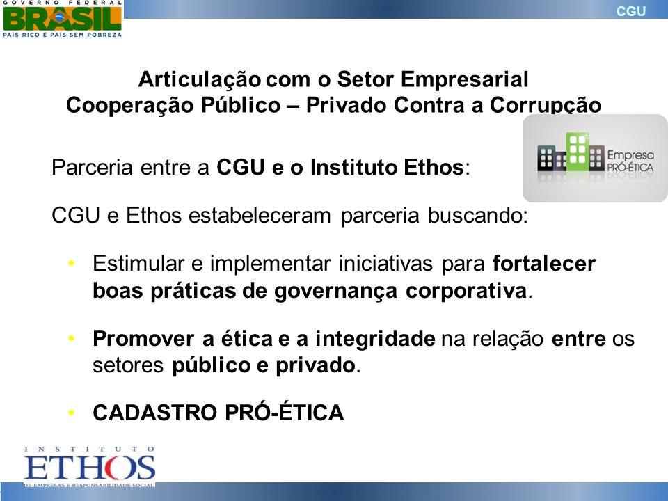 CGU Parceria entre a CGU e o Instituto Ethos: CGU e Ethos estabeleceram parceria buscando: Estimular e implementar iniciativas para fortalecer boas pr