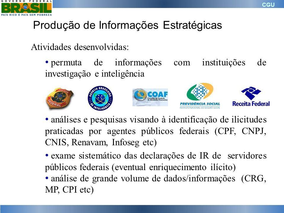 CGU Produção de Informações Estratégicas Atividades desenvolvidas: permuta de informações com instituições de investigação e inteligência análises e p