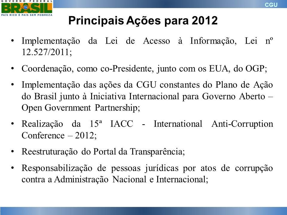 CGU Principais Ações para 2012 Implementação da Lei de Acesso à Informação, Lei nº 12.527/2011; Coordenação, como co-Presidente, junto com os EUA, do