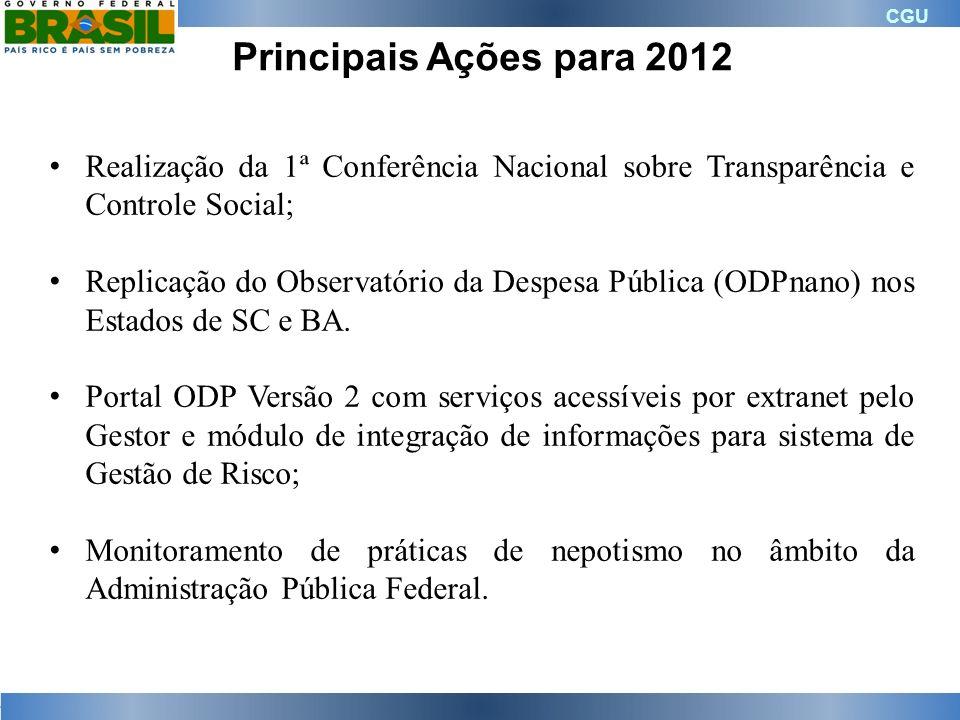 CGU Principais Ações para 2012 Realização da 1ª Conferência Nacional sobre Transparência e Controle Social; Replicação do Observatório da Despesa Públ