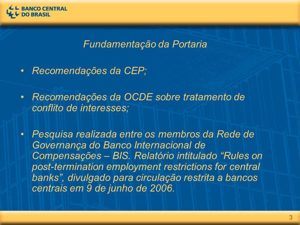3 Fundamentação da Portaria Recomendações da CEP; Recomendações da OCDE sobre tratamento de conflito de interesses; Pesquisa realizada entre os membros da Rede de Governança do Banco Internacional de Compensações – BIS.