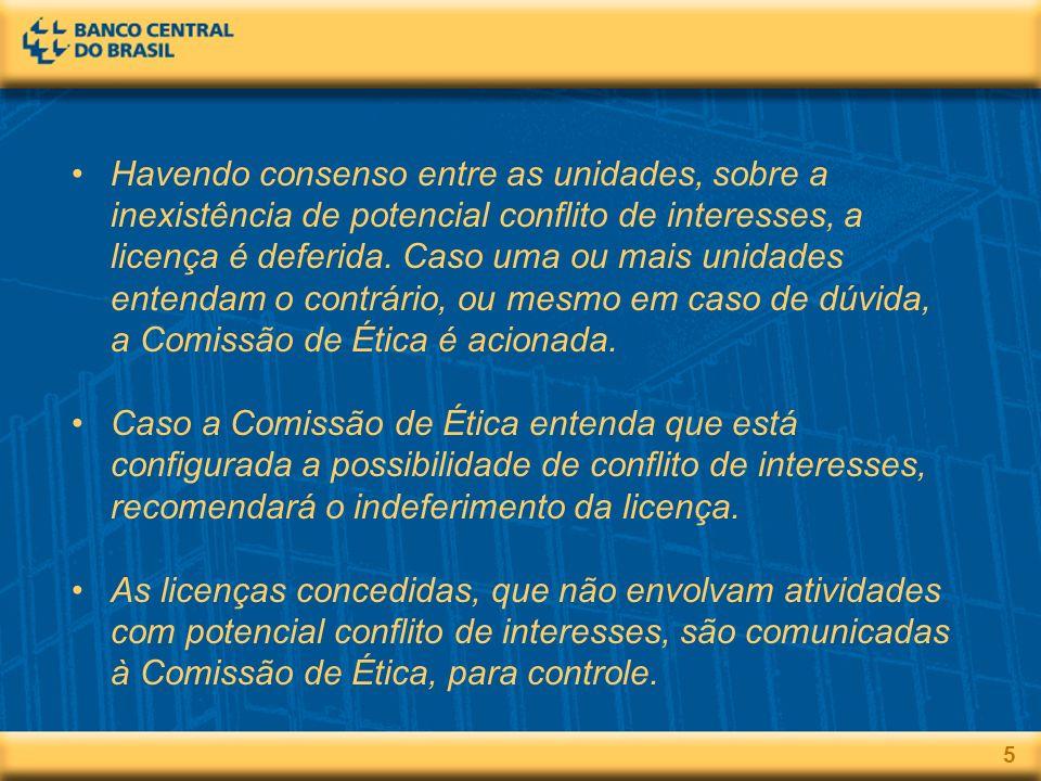 5 Havendo consenso entre as unidades, sobre a inexistência de potencial conflito de interesses, a licença é deferida.