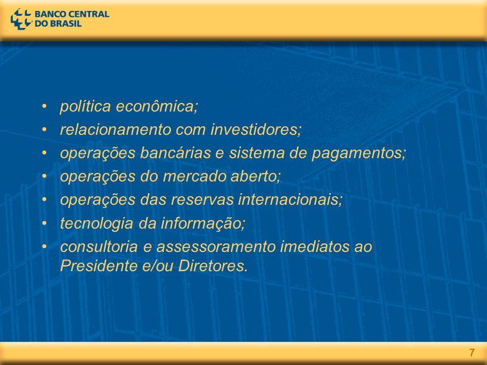 7 política econômica; relacionamento com investidores; operações bancárias e sistema de pagamentos; operações do mercado aberto; operações das reservas internacionais; tecnologia da informação; consultoria e assessoramento imediatos ao Presidente e/ou Diretores.