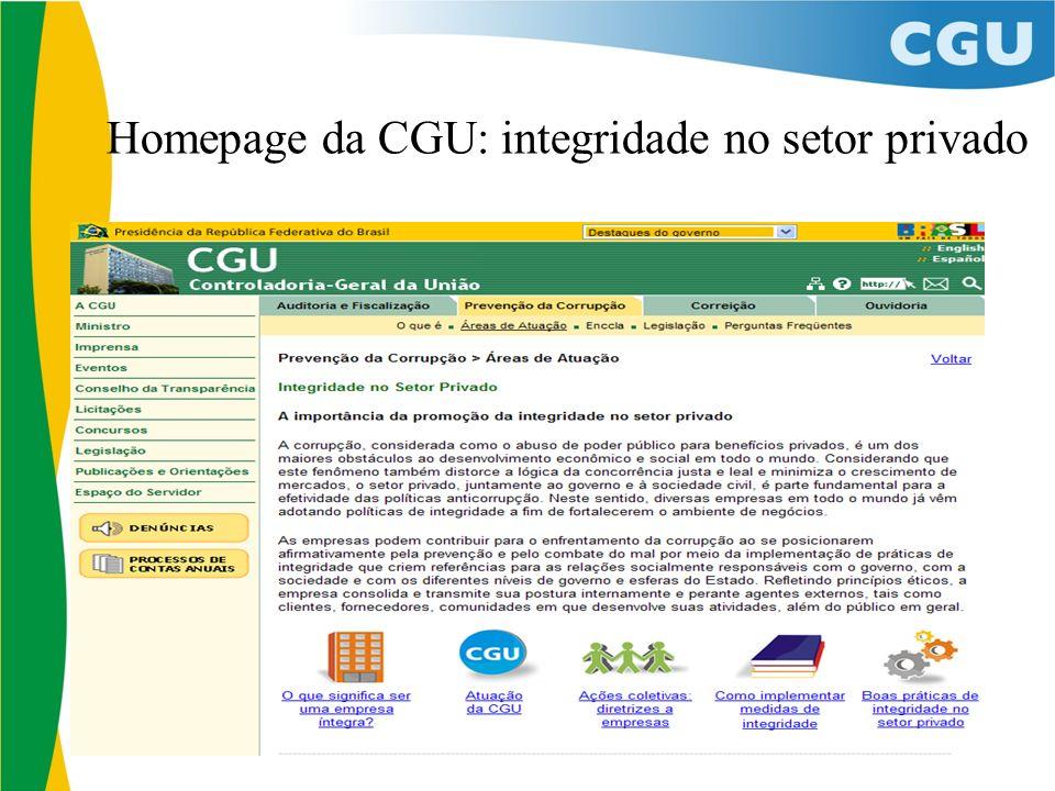 Homepage da CGU: integridade no setor privado