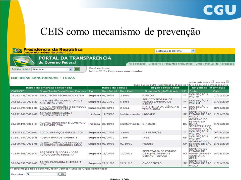 CEIS como mecanismo de prevenção