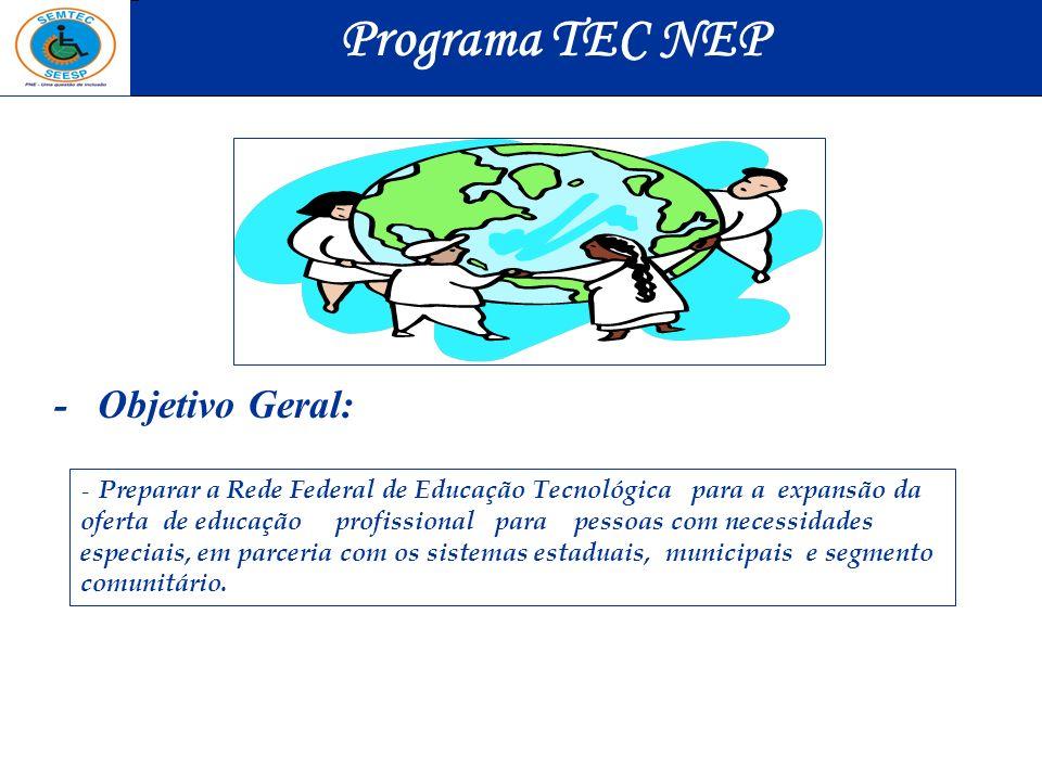 - Objetivo Geral: - Preparar a Rede Federal de Educação Tecnológica para a expansão da oferta de educação profissional para pessoas com necessidades e