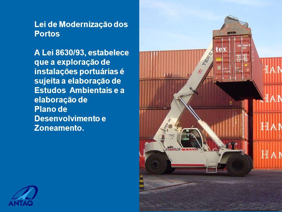 Lei de Modernização dos Portos A Lei 8630/93, estabelece que a exploração de instalações portuárias é sujeita a elaboração de Estudos Ambientais e a e