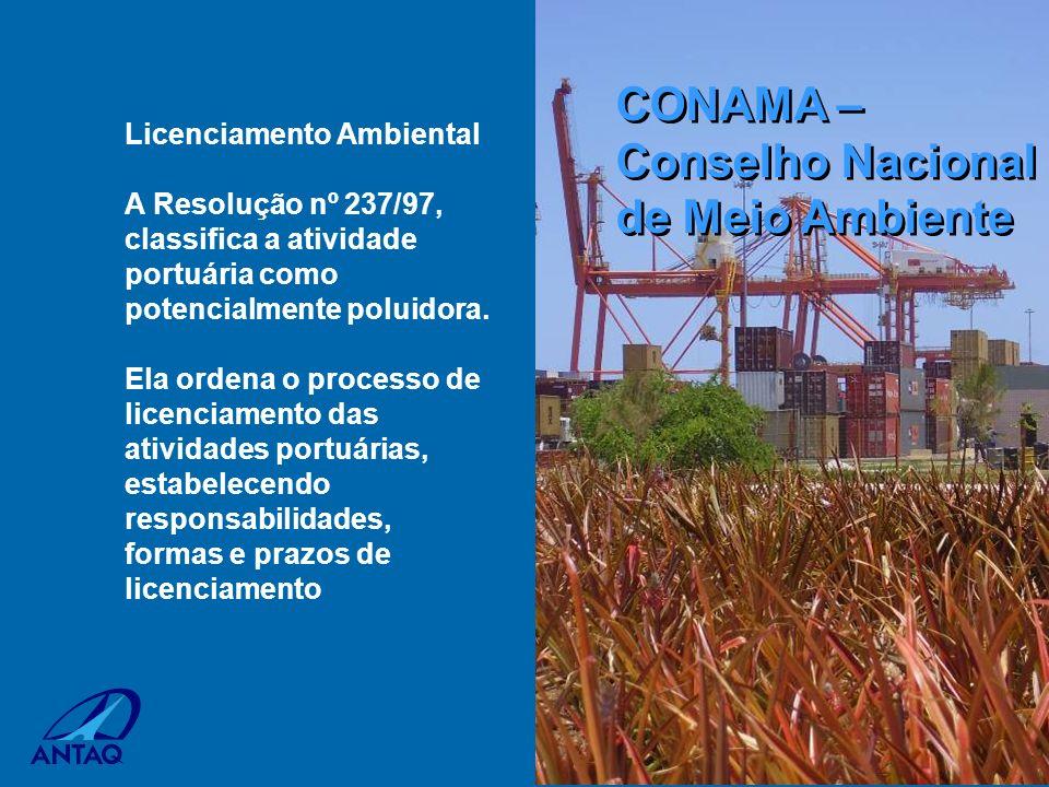 Licenciamento Ambiental A Resolução nº 237/97, classifica a atividade portuária como potencialmente poluidora. Ela ordena o processo de licenciamento