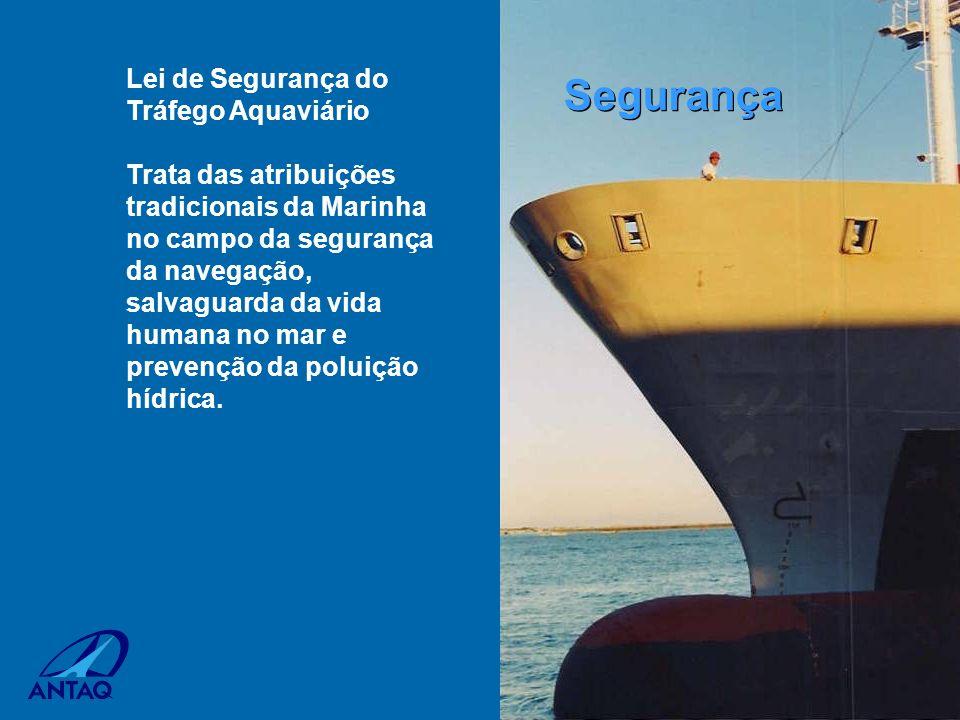 Lei de Segurança do Tráfego Aquaviário Trata das atribuições tradicionais da Marinha no campo da segurança da navegação, salvaguarda da vida humana no
