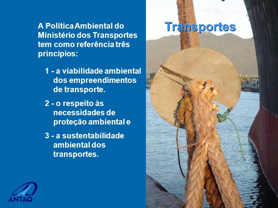 1 - a viabilidade ambiental dos empreendimentos de transporte. 2 - o respeito às necessidades de proteção ambiental e 3 - a sustentabilidade ambiental